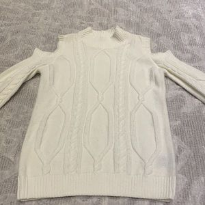 Suzy Shier Cold Shoulder Sweater